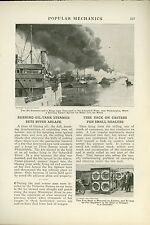 1919 Magazine Article Oil Tanker Steamer Boat Fire on Schuykill River PA