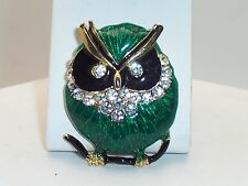 Sweet Heavily Black & Green Enamelled  Owl Brooch W/ Clear Rhinestone Accents