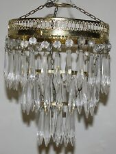 BRASS AND CUT-GLASS THREE-TIER DECO LUSTRE CHANDELIER # FREE POST #