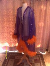 Drag Queen High fronted Purple/silver sequin coat with orange feathers 20/22