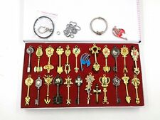 24pcs/set Anime Fairy Tail Lucy Cosplay Keys Necklace Pendant Keychain BONUS DVD