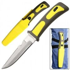 "9"" SAWTAIL SCUBA DIVING SWIMMING GUT HOOK DROP POINT FIXED BLADE KNIFE w/ STRAPS"