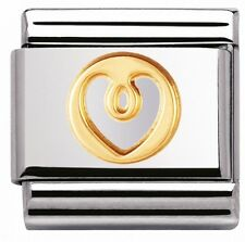 GOLD & WHITE LOVE HEART Genuine Nomination Classic Link Elegance Italian Charm