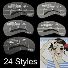 24 Styles Eyebrow Grooming Stencil Kit Template Make Up Shaping Shaper DIY Tools