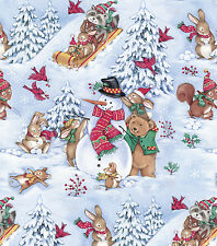 WOOD LAND ANIMALS IN THE SNOW CHRISTMAS VALANCE