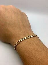 6mm Mens HALLOW  Royal Figaro Link Chain Bracelet Real 10K Yellow Gold #DD86