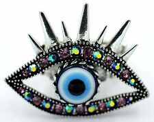 Purple Evil Eye Eyebrow Stretch Ring Crystal Rhinestone Punk BikerJewelry RD22