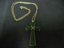 COLLECTIBLE AVON GREEN STONE GOLD COLORED CROSS NECKLACE