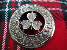 Scottish Kilt Fly Plaid Brooch Irish Shamrock Antique Finish/Irish Shamrock kilt