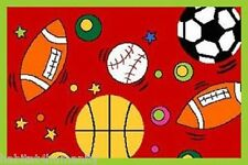 7' x 10'  KIDS CHILDREN SPORTS THEME IN RED ROOM BEDROOM SPORT area RUG NON SKID
