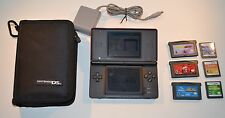 nintendo ds lite model usg-001 red game console, 6 games, charger, and case