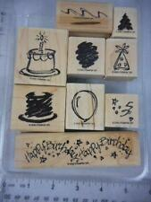 Stampin Up! SKETCH A PARTY 9 Wood Rubber Stamps 2002 Balloon cake Birthday 24