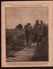 WWI Reine Elisabeth de Belgique Tranchées Général de Ceuninck 1917 ILLUSTRATION