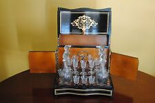 Victorian,Art Nouveau French Marquetry Tantalus Baccarat Glass Decanters/Bottles