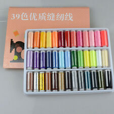 1 Box 39 Pcs Spools Colorful Polyester Embroidery Sewing Quilting Thread DS