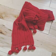RED Thick Cable Knit Acrylic Scarf Bath & Body Works EXTRA LONG SCARF w/Pockets