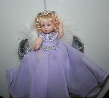 "MOON ANGEL DOLL Ornament in Lavender on Silver Moon 6"" Bin #1"