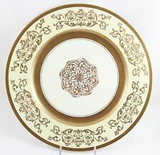 SET 8 DINNER PLATES EDGERTON PICKARD CHINA E132-12 RAISED GOLD ENCRUSTED CREAM