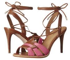 NIB Coach A01230 Kiara Dahlia Saddle Leather Lace Up Sandal Heels Sz 9