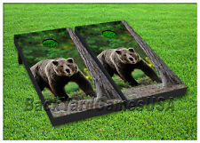 VINYL WRAPS Cornhole Boards DECALS Bear in the Woods Bag Toss Game Stickers 114