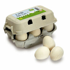 Wooden pretend role play food Erzi play kitchen, shop: Eggs White six pack toy