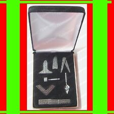 "FREE MASON'S☆BEST MASONIC""WORKING TOOLS""DESK GIFT SET+VELVET BOX FREEMASON PEWTR"