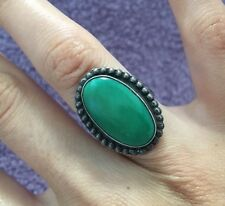 VINTAGE ZUNI Sterling Silver RARE MARENCI TURQUOISE RING Native American JEWELRY