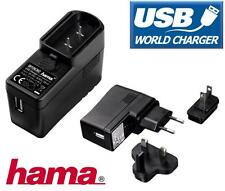 Hama USB 2.1 Amp Mains Wall Charger World Travel Set for UK EU USA