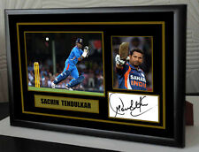 """Sachin Tendulkar Cricket Framed Canvas Tribute Print Signed.""""Great Gift"""""""
