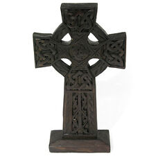 STANDING WOODEN CELTIC CROSS 10 INCH ( 25cm ) DARK WOOD