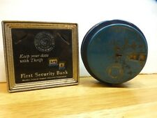 Vintage Round Blue Coin Counter Add O Matic & Silver Square First Security Bank