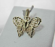 14K YELLOW GOLD FILIGREE BUTTERFLY CHARM PENDANT 0.6gr