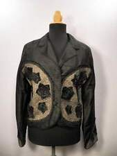 Black Silk Lace Beaded Floral Blazer Jacket Women's S Small Victorian Goth Glam