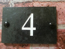 Deeply engraved slate plaque with the number of the house  door gate 10cm x 15cm