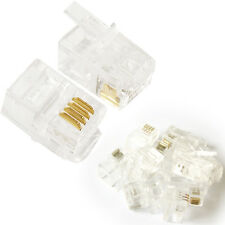 10x 4P4C RJ9/RJ10/RJ22 Kabel Crimp Steckverbinder - Telefon Kontakt/Pin End