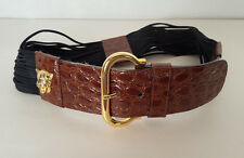 Escada Vintage Leather Belt with Gold Leopards Made in Western Germany Sz 36 SM