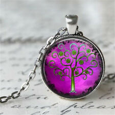 Vintage Tree of Life Cabochon Silver plated Glass Chain Pendant Necklace #D30