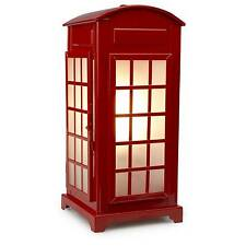 Shabby Chic Royal Red Phone Box Table Lamp New 32cm