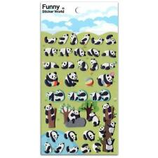 ✰ CUTE PLAYING PANDA STICKERS Animal Puffy Vinyl Raised Sticker Sheet Scrapbook