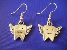 FREE GIFT ** ANTIQUED SILVER DANGLE EARRINGS  Tooth Fairy