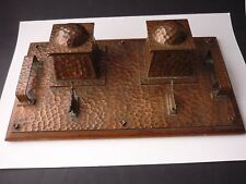 SUPERB 1880 to 1890 ARTS AND CRAFTS LARGE HAMMERED COPPER INKWELL AND PENSTAND