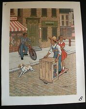 C. CARSON Serigraph Oil Painting AFRICAN AMERICAN CHILDREN Playing Bicycle Cart