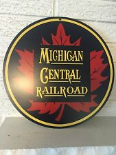 "Michigan Central Railroad Maple Leaf Logo Heavy Steel Sign  14"" Round New DL"