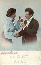 Neujahr, Mann und Frau mit Sektglas, 1903