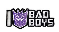 """Transformers I Heart Bad Boys Iron-On Patch 3 1/2"""" x 1 1/2"""" Licensed PCH-TFP0147"""