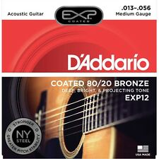 D'Addario EXP12 Coated 80/20 Bronze Medium Acoustic Guitar 13-56
