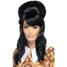 Women's 60's Brigitte Bouffant Wig Black Hen Model Big Hair Rock Hippy Mod Girl
