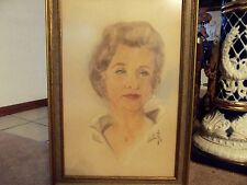 Vintage 1961 Oil pastel Drawing Painting Portrait Classy Woman Artist Signed