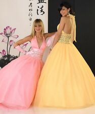 Tiffany 16820 Embellished Bodice Tulle Halter Ball Gown Yellow sz 4 NWT new