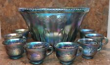 Indiana Glass  PRINCESS   BLUE CARNIVAL GLASS   Punch Bowl &16 matching Cups